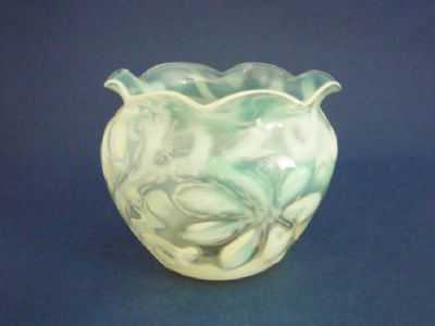 Superb Richardson's 'Horse Chestnut Leaf' Vaseline Glass Vase c1890